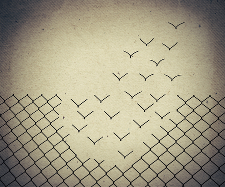 Photo for Metallic wire mesh transform into flying birds. Old paper, vintage background - Royalty Free Image