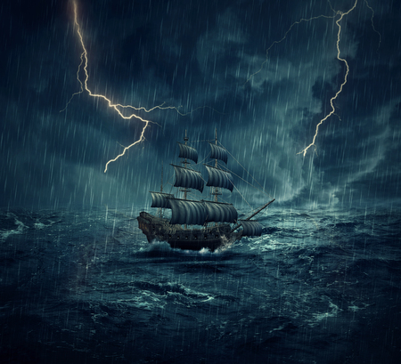 Photo for Vintage, old sailing ship lost in the ocean in a rainy, stormy night with lightnings in the sky. Adventure and journey concept - Royalty Free Image