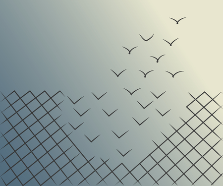 Illustration pour Vector illustrations of a wire mesh fence transforming into birds flying away. Freedom, courage and success concept. - image libre de droit