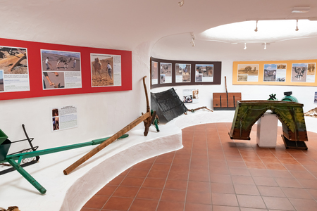 LANZAROTE, SPAIN - DEC 13, 2018: Museum Echadero de Camellos near to Camel rides at the famous Timanfaya National Park on the volcanic island of Lanzarote in Spain, Canary Islands.