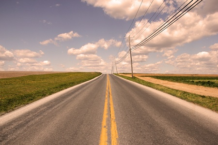 country road with yellow line