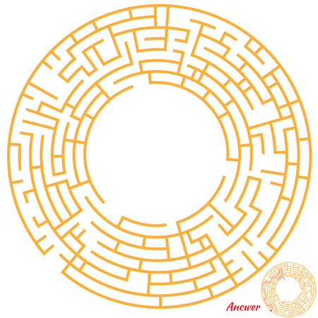 Funny Maze Game for kids. Maze or Labyrinth Game for Preschool Children. Maze puzzle with solution