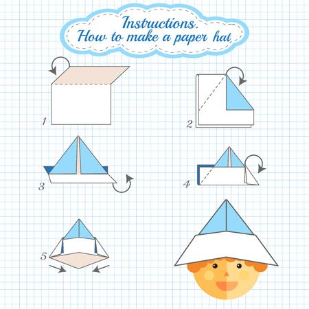 Instructions How To Make Paper Hat Tutorial Hat Made Of Paper Step By Step Vector Origami Hat Educational Game For Kids Visual Game For Preschool Children Hat Diy Made Of Craft Royalty Free