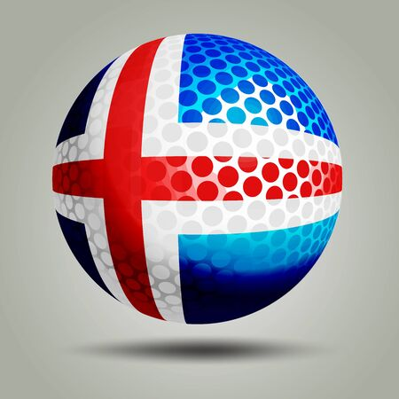 3D Golf Ball with Flag of Iceland on grey background