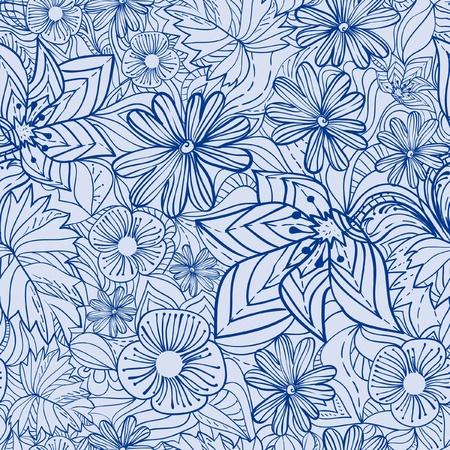 Blue floral pattern illustration