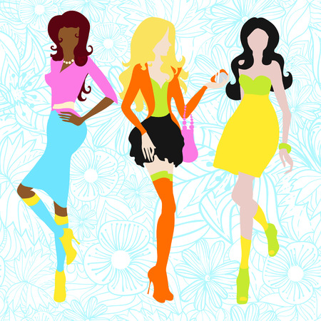 Silhouettes of girls in acid colors. Sixties. Vector illustration