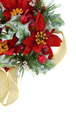 Poinsettia Christmas decoration, nice green and reds color combination, with gold ribbon.