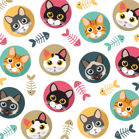 Illustration pour Cute Cats and fishbone vector pattern, illustrations on colored background. - image libre de droit