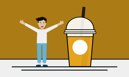 A boy with a cup of ice coffee