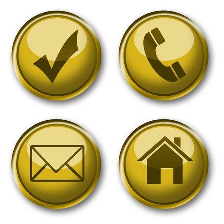 gold web contact button & icon