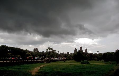Black cloud move towards an ancient temple