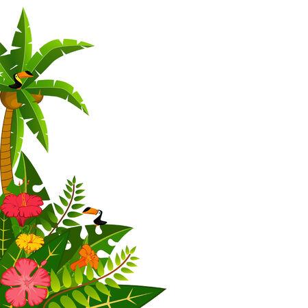 Illustration pour Background with tropical plants and parrots. Vector - image libre de droit