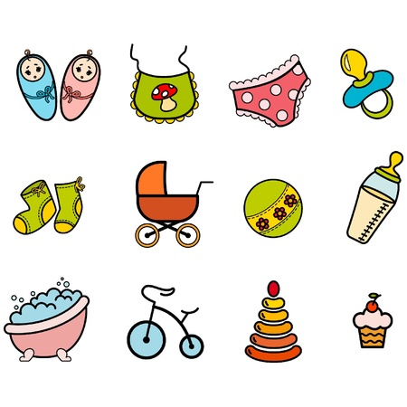 Vector beautiful baby icons