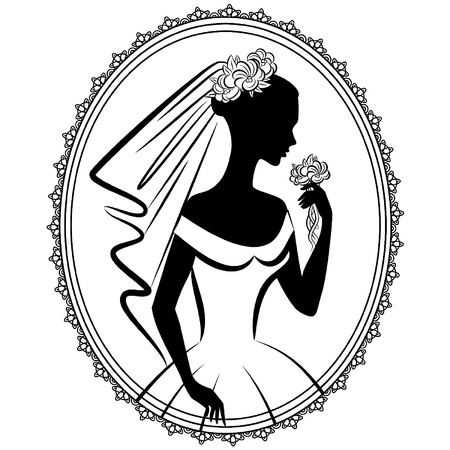 Vintage silhouette of beautiful bride in dress.