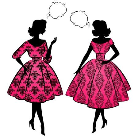 Foto de Vintage silhouette of girls. - Imagen libre de derechos