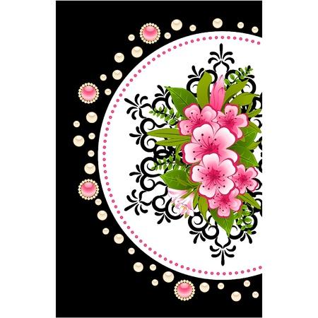 Illustration pour Flowers with lace ornaments on background. Vector - image libre de droit