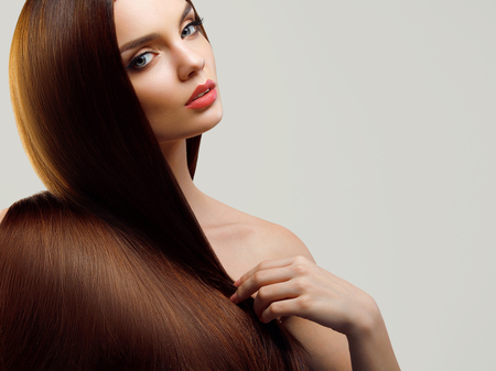 Photo for Portrait of Beautiful Woman with Long Hair - Royalty Free Image