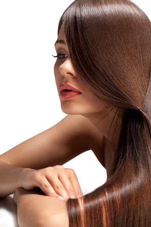 Photo pour Portrait of Beautiful Woman with smooth gloss long hair. High quality image. - image libre de droit