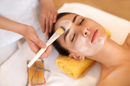 Photo for Face Treatment. Woman in Beauty Salon Gets Marine Mask - Royalty Free Image