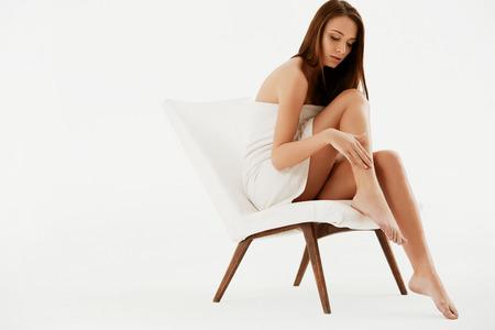 Long Woman Legs . Beautiful Woman Cares About Legs. Depilation