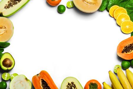 Foto für Vegetables And Fruit Background. Healthy Fresh Raw Organic Food :  Bok Choy, Papaya, Salad, Persimmon, Avocado, Lime, Bananas , Melon, Guava, Oranges. Vegetarian Nutrition. Diet And Vitamins Concept - Lizenzfreies Bild