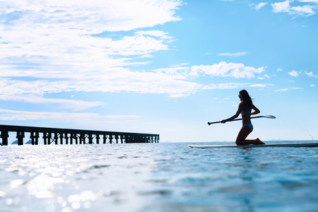 Recreational Water Sports. Silhouette Of Free Fit Woman Paddling, Kneeling On Stand Up Paddle, Surf Board In Ocean. Summer Travel Vacation. Healthy Lifestyle, Body Health, Wellness, Enjoyment Concept