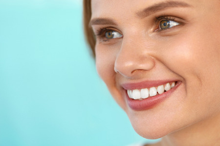 Photo for Beauty Woman Face. Closeup Portrait Of Beautiful Happy Girl With Perfect Smile And White Teeth. Cheerful Healthy Female With Fresh Soft Skin Smiling. Health, Skin Care Concept. High Resolution Image - Royalty Free Image