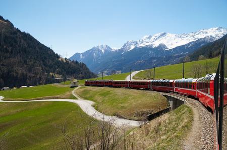 Beautiful view and Bernina express train from Switzerland to Tirano