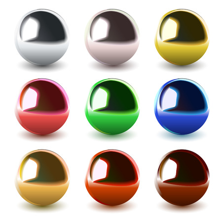set of vector chrome balls