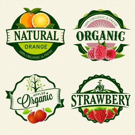 Set of Fresh   Organic labelsのイラスト素材