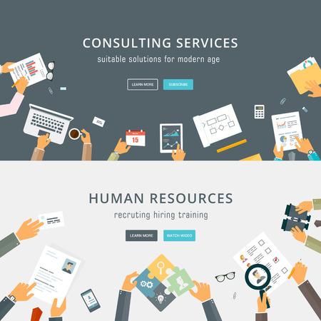 Illustration pour Set of Flat Style Designs. Business Concepts. - image libre de droit