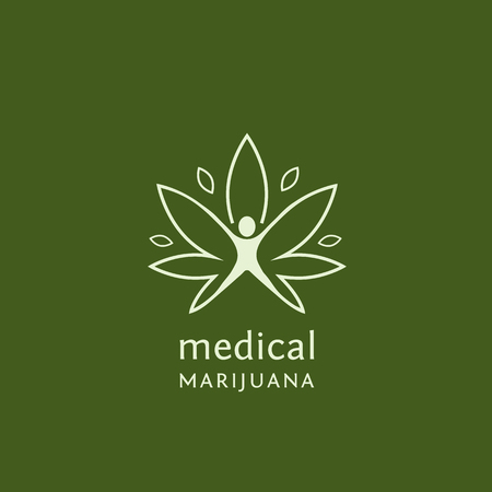 Vektor für Flat outline design of medical marijuana. Vector illustration concept for web design, labels, logo design. - Lizenzfreies Bild
