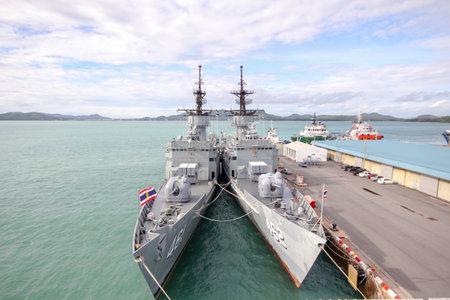 Photo for Chonburi ,Thailand-September 21,2013:2 Battle ship stop near HTMS Chakri Naruebet is biggest in Thai Military Battleship at Chonburi ,Thailand - Royalty Free Image