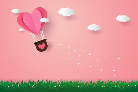 Illustration for Valentines day , Illustration of love , Hot air balloons in a heart shape flying over grass, paper art style - Royalty Free Image