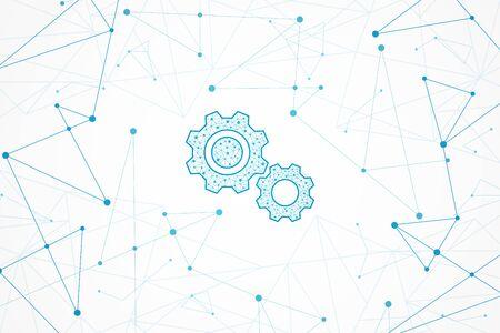 Illustration pour Abstract geometric background, connection concept, Technology gear icon - image libre de droit