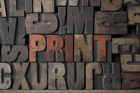 The word Print written in very old letterpress blocks