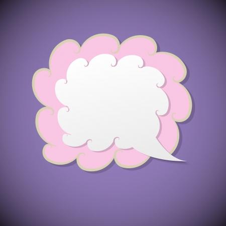 Illustration for Retro speech bubble on violet background, vector illustration - Royalty Free Image