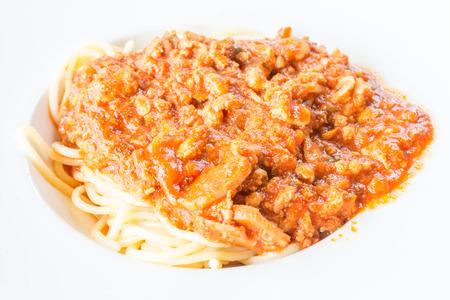Close up spaghetti tomato sauce, stock photo