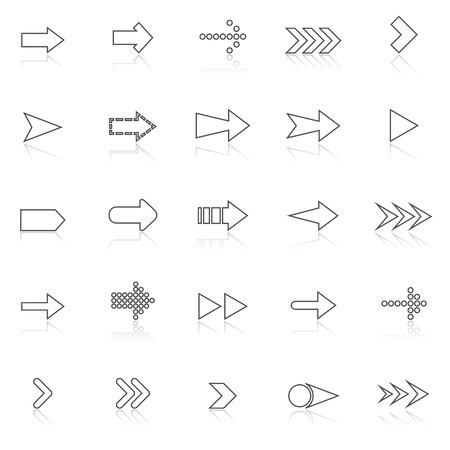 Arrow line icons with reflect on white, stock vector