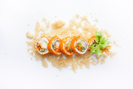 Photo for Crunchy Roll, Rice roll of prawn tempura with spicy miso sauce, Japanese food - Royalty Free Image