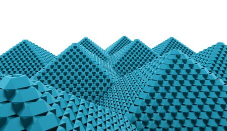 Blue pyramid cubes concept rendered