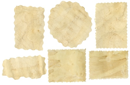 Six pieces of old paper on white background