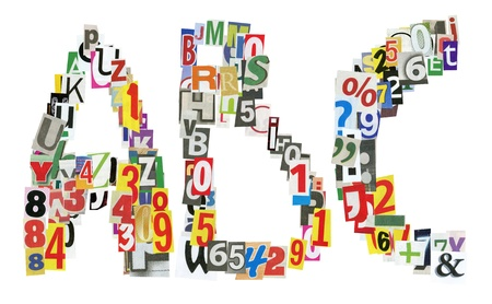 ABC letters made of newspaper letters, numbers and punctuation marks, isolated on white