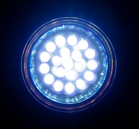 Blue led lamp, front view.