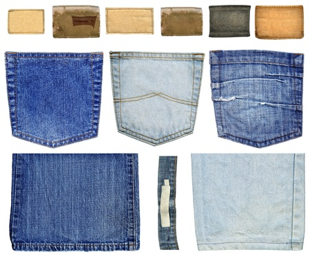Collection of jeans labels, pockets and legs