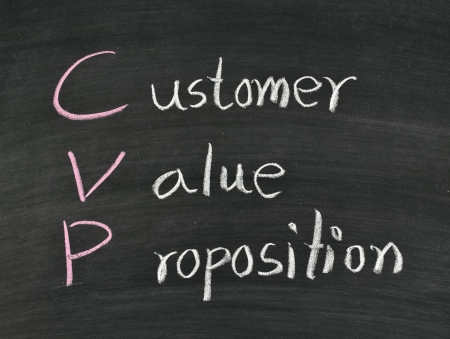 customer,value,proposition written on blackboard