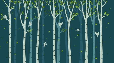 Illustration pour Birch tree with birds silhouette on green background - image libre de droit