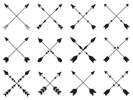 Ilustración de Set of crossed arrows on white background - Imagen libre de derechos