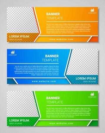 Illustration pour Abstract corporate business banner template set, vector illustration - image libre de droit