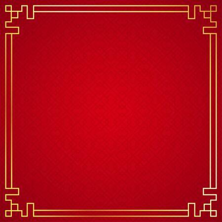 Illustration pour Oriental chinese border ornament on red background, vector illustration - image libre de droit